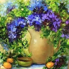 Blue Cascade Hydrangeas by Texas Artist Nancy Medina www.nancymedina.com $825