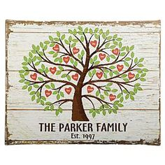 Family Tree of Hearts Canvas and other at PersonalCreations.com $39.99 on this site for 24 names, but I could easily make something like this that could be added on to later on...