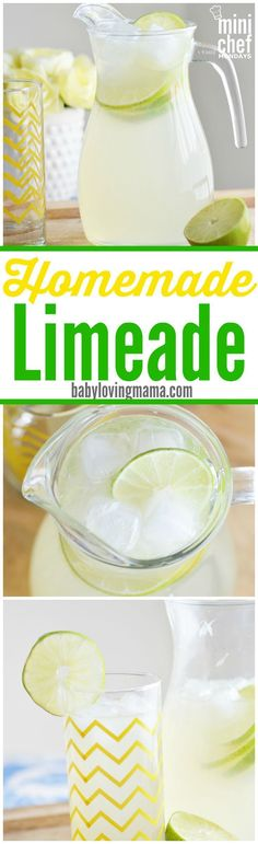 Homemade Limeade: This refreshing limeade is a great alternative to lemonade. It uses simple syrup instead of regular sugar for an even better taste! #MiniChefMondays