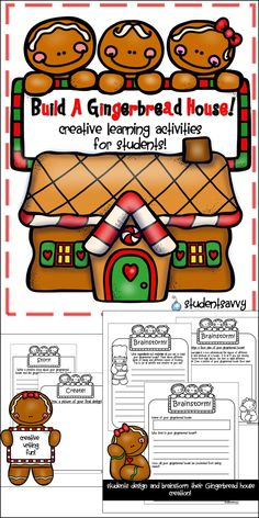 Creative Writing Activities! How fun! Students can build and create their own Gingerbread house for the Holidays!