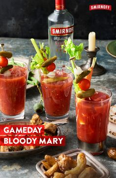 Nothing pairs better with game day food than this Bloody Mary cocktail. Mix up a batch for tailgate brunch or a game day party. Recipe: Mix the following in a shaker: 1.5 oz. Smirnoff No.21 Vodka, 5 oz. Tomato Juice, Dash Worcestershire sauce + Hot sauce, Salt + pepper, 1 tsp. of Horseradish. Shake it. Garnish freely with celery, cornichons, olives, and wings or bacon if you please.