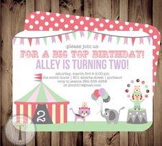Big Top Circus Birthday Invitation birthday by T3DesignsCo on Etsy