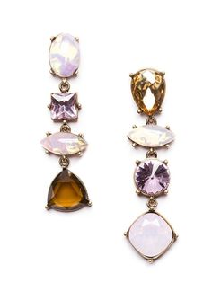 Contrast Crystal Asymmetric Earrings in Pink and Amber #fashion #style #pink #statementearrings - 18,90 @happinessbotique.com