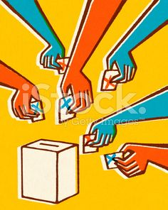 Voting Hands and Ballot Box royalty-free stock illustration