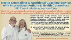 International health coaches Marlene Watson-Tara and Bill Tara International Health, Plant Based Diet, Health Coach, Coaches, Helping People, Counseling, Whole Food Recipes, Stress, Healing