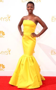 We love how Samira Wiley gets her #Happiness on with this #yellow beauty, from 2014 Emmys: Red Carpet Arrivals | E! Online  #ShineIt