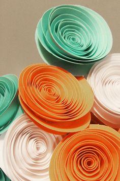 12 Teal Orange and White Spiral Paper Flower Bouquet Arrangement - Centerpiece - Graduation Gift - Party Decor - Baby Shower