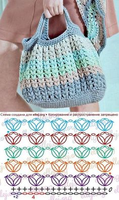 Escolha e copie: 18 Modelos de bolsa Summer Bag ⋆ De Frente Para O Mar - Taschen - Stricken Crochet Shawl, Crochet Stitches, Knit Crochet, Crochet Patterns, Knitting Patterns, Crochet Handbags, Crochet Purses, Crochet Gifts, Crochet Baby