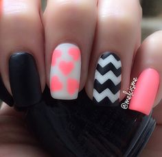 Matte or neon nail polish would give your Chevron pattern a much sleeker look. Especially in black and white.