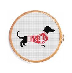 Set Christmas dachshund - cross stitch pattern  Floss: DMC Canvas: Aida 14 Grid Size: 67W x 37H Design Area: 4,64 x 2,50 (65 x 35 stitches)