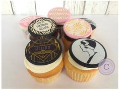 Great Gatsby Cupcake & Cookie Toppers por ChelseaCakeCompany