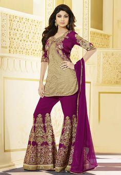 Buy Beige Shimmer Net Jacquard Kameez with Sharara and Jacket online, work: Embroidered, color: Beige, usage: Wedding, category: Salwar Kameez, fabric: Net, price: $151.31, item code: KUF7046, gender: women, brand: Utsav