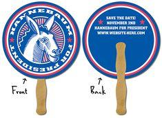 Political Hand Fan - 8.5 Inch Diameter Circle-27033101      www.logosurfing.com (800) 728-7192