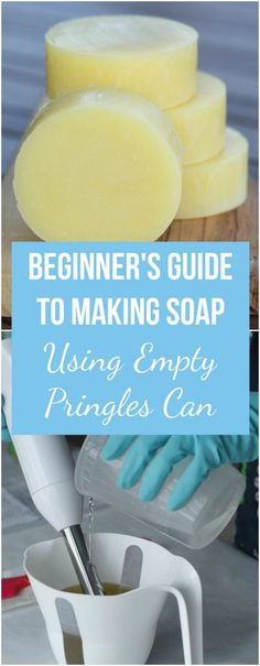 """It can be daunting to make cold process soap for the first time. In this beginner's tutorial I walk you through all the steps. I share a simple recipe and easy method of making round soap using an empty """"Pringles"""" can. Pringles Can, Homemade Soap Recipes, Castile Soap Recipes, Homemade Products, Bath Products, Homemade Cards, Soap Making Supplies, Cold Process Soap, Soap Molds"""