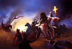 Crusaders in battle against the Saracens