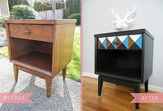 DIY Projects: Mid Century Vintage Wooden Nightstand Table DIY Makeovers With Painted Geometric Triangles On The Drawer And Black Painted Design Ideas: Inspiring DIY Furniture Makeovers