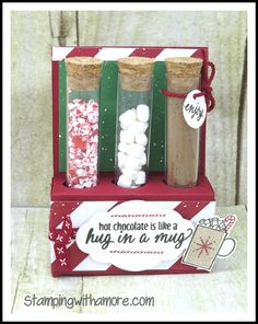 Chocolate Crafts, Hot Chocolate, Stampin Up Christmas, Christmas Crafts, Rustic Christmas, Test Tube Crafts, Test Tube Holder, Treat Holder, Card Making Techniques