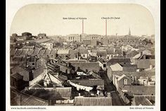 'View of Melbourne looking east Taken by Charles Nettleton in 1860, Overhead view of rooftops and backyards with washing on the line, lanes, businesses signed Hibernian Hotel, Toohey & Co. Hay and Corn Store, State Library of Victoria seen in background (before portico and dome), grounds and buildings of the old Melbourne gaol. This was before the Shot Tower was built.'  Lost Melbourne Facebook Page
