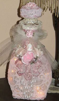 Shabby but Chic Victorian Style Pink Lace Bottle Night Light Cameo Pearls Roses | eBay