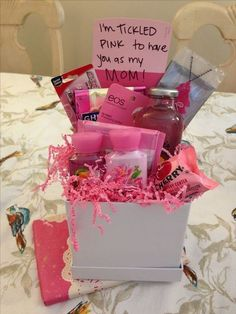 tickled pink gift basket - Mothers Day - Grandcrafter - DIY Christmas Ideas ♥ Homes Decoration Ideas Diy Gifts For Mom, Diy Mothers Day Gifts, Homemade Gifts, Mothers Day Ideas, Morhers Day Gifts, Mothers Day Baskets, Mothers Day Presents, Gifts For Big, Mother Gifts