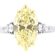 Three Stone Six Claw Yellow Marquise Cut Diamond With Diamond Pear Sides #wedding #engagementring #diamonds #diamondring #engagementrings #jewellery #diamond #bride #ido #weddinginspiration #loveit #inlove #t4l #likeback #vsco #like