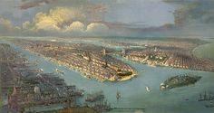 New York City, New Jersey, Governors Island, Battery Park, Manhattan, Brooklyn Bridge 1851.  NY0032 Reproduction Vintage Bird's Eye View Map