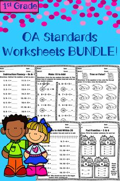 NO PREP! 1st Grade Math Addition & Subtraction Worksheets covering all OA Standards. Topics include: Make 10, Fact Families, Counting On, Fluency, Word Problems, and more!