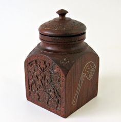 Vintage Tobacciana Stash Box Hand Carved Indian Rosewood Tobacco Storage Canister