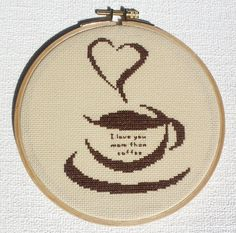 Cross stitch pattern pdf Coffee cup