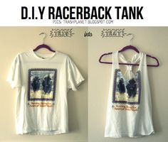 DIY Racerback tank- for my t-shirt that has sweat stains, haha. Ew.