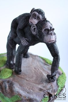 Bonobo Apes Mama and Baby by Avalon Cakes School of Sugar Art