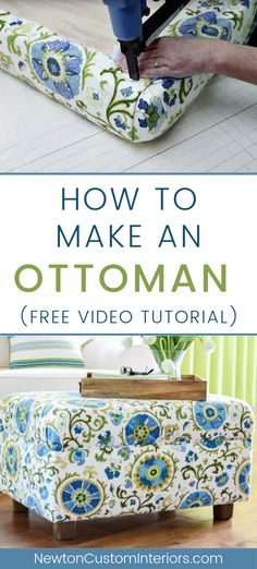 Learn how to make an ottoman with this detailed video tutorial! By making your own DIY ottoman youll be able to build the exact size you need! Choose the fabric you love to upholster it in! - Ottomans - Ideas of Ottomans Diy Storage Ottoman, Diy Ottoman, Upholstered Ottoman, Homemade Ottoman, Diy Footstool, Green Ottoman, Ottoman Decor, Ottoman Furniture, Fabric Ottoman