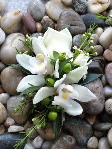 Natural Corsage  cymbidium orchids with berries .. accent with ligth blues or other color to coordinate with your theme and dresses