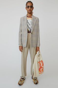Acne Studios grey/beige plaid, half-lined blazer jacket. Suit Jackets For Women, Suits For Women, Women Wear, Plaid Blazer, Blazer Jacket, Casual Outfits, Fashion Outfits, Grey And Beige, Colourful Outfits