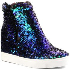 Cape Robbin Collection Mermaid Sequin Wedge Sneaker ($30) ❤ liked on Polyvore featuring shoes, sneakers, hidden wedge shoes, polyurethane shoes, rubber sole shoes, wedge trainers and high heel sneakers