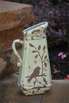 Birds 'n Branches Stoneware Pitcher - Pottery designs - Hand Built Pottery, Slab Pottery, Pottery Vase, Ceramic Pottery, Thrown Pottery, Ceramic Birds, Ceramic Art, Earthenware, Stoneware