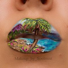 Summer Lip Art using Mehron Paradise Makeup AQ
