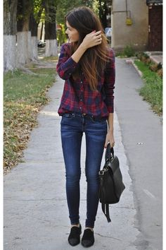Casual outfit with a flannel shirt, jeans and oxfords.