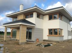 Dom z Widokiem House Elevation, Modern House Design, Modern Minimalist, Exterior Design, Modern Architecture, Minimalism, House Plans, Construction, Mansions