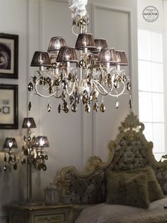 Acqua Swarovski Hand made decorated wrought  iron with Swarovski Crystals Bronze Shade Brown Tissue Shades with silver details