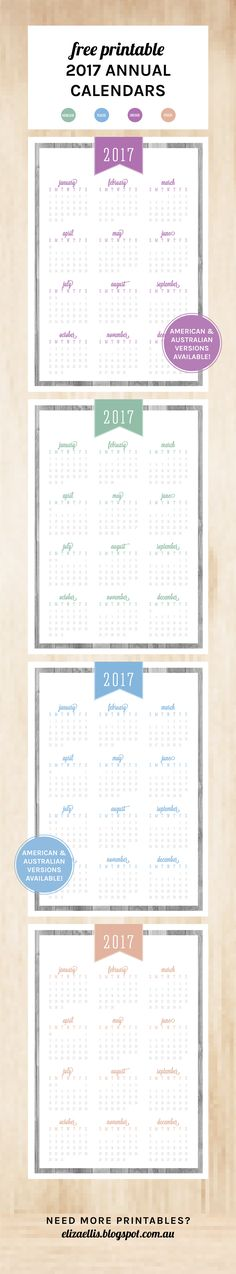 Free Printable 2017 Annual Calendar from my Classic Collection // Eliza Ellis