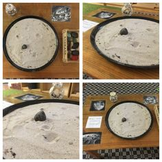 Provocation: how are craters formed? Simple inquiry-based experience consisting of a round tray filled with moon sand and rocks which the children have collected themselves from the garden. As children press various stones into the sand they create misshapen craters. Photos of the moon's surface also displayed for reference