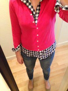 pint cardigan, navy gingham shirt, jeans