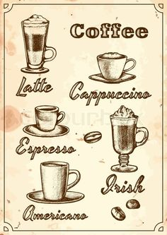 Stock vector of 'Set of hand-painted five kinds of coffee'