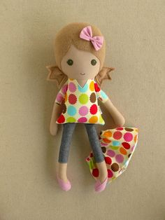 Fabric Doll Rag Doll Light Brown Haired Girl in by rovingovine