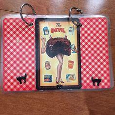 4x6 index card binder, recipe card binder, or mini book of shadows made with recycled retro art Tarot cards