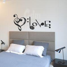 vinilos decorativos pared,habitacion,amor,love, musica,pentagrama
