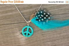 ON SALE Turquoise feather necklace - real feather necklace, peace charm, long feather necklace, boho jewelry, bright blue necklace  * FREE S