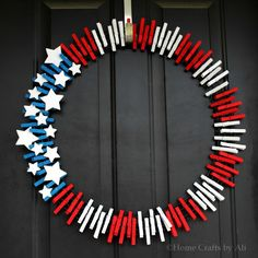 How to make a Patriotic Wreath.  Step-by-step tutorial with pictures.