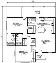 House Plan 96704 - Traditional , House Plan with 1013 Sq Ft, 2 Bed, 2 Bath Coastal House Plans, Cottage House Plans, Small House Plans, Coastal Homes, House Floor Plans, Cottage Living, Coastal Rugs, Coastal Farmhouse, Coastal Decor